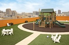 Union Rescue Mission Rooftop Playground Nachhaltiges Design, Modern Design, Interior Design, Partition Screen, Rooftop Design, Garden Buildings, Roof Deck, Play Spaces, Rooftop Terrace