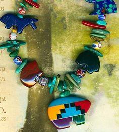 """Southwest Animal Fetish Necklace 19"""" Lapis Horse Azurite Bear Turquoise Inlay"""