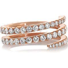 Anita Ko Coil 18-karat rose gold diamond ring (12,010,140 KRW) ❤ liked on Polyvore featuring jewelry, rings, accessories, rose gold, diamond jewelry, 18k ring, diamond rings, 18k rose gold ring y pink gold diamond ring