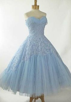 Light blue lace tea length dress; 1950's Wedding Dress