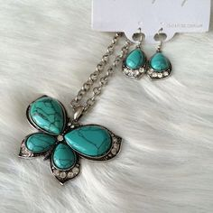 """Turquoise butterfly necklace set Turquoise butterfly necklace set Adjustable clasp closure. This piece has some weight to it. Longest part of pendant is 3"""".  NWT. Brand new with tags. Comes with earrings (see photos). Chain length 24"""" (plus additional 2"""" extender) Availability- 2 PLEASE do not purchase this listing. Price is firm unless bundled. No tradesWS3J4L21 Boutique Jewelry Necklaces"""