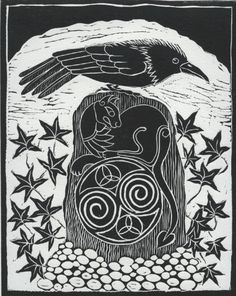 """Raven on Celtic Standing Stone by Anne Hutchings. In the Celtic world, the raven was the favorite animal totem of the three-personed war goddess, """"The Morrigan"""". Crow Art, Raven Art, Bird Art, Dark Wings, Jackdaw, Celtic Art, Celtic Raven, Viking Raven, Crows Ravens"""
