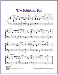 The Minstrel Boy (Celtic) | Free Sheet Music for Piano - http://makingmusicfun.net/htm/f_printit_free_printable_sheet_music/the-minstrel-boy-piano-solo.htm