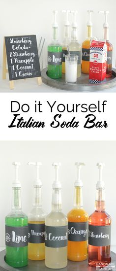 Italian Cream Soda Bar, complete with recipes to make your own syrups AND free printable labels for the syrup bottles. An easy non-alcoholic drink to serve at parties, weddings, showers and events!