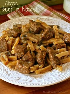 Home-Style Beef 'n Noodles with Mushrooms & Onions!