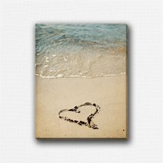 Valentine Wall Art Canvas, Heart Print, Heart in Sand, Beach Decor, Love Romance Romantic Wedding Anniversary, Beige Blue Teal. on Etsy, £31.15. A GREAT WEDDING GIFT FOR ONES WHO HAD THEIR CEREMONY AT THE BEACH..        walking on sunshine