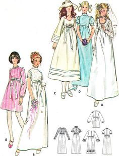 1970s Wedding Dress Pattern Butterick 6000. Most wedding dresses in the early '70s had a high empire waistline to hide pregnancies.