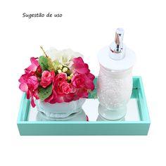 Bandeja Café/Lavabo com espelho Verde Água