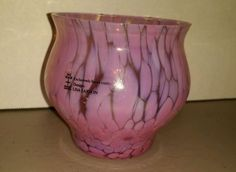 Lisa Larson SKRFU Sweden w label glass votive holder vase jar pink nos
