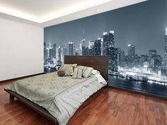 Manhattan Black & White Panoramic wall mural room setting