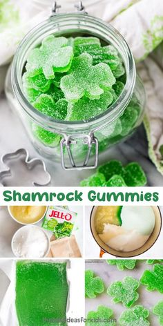 2 hours · Makes 6 · Make an easy St Patrick's day treat with these shamrock gummies! Such a fun and easy dessert for St Patrick's day using Jello. patricks day snacks Shamrock Homemade Gummies with Jello Holiday Treats, Holiday Recipes, Party Treats, Candy Recipes, Dessert Recipes, Homemade Gummies, Homemade Jelly, St Patrick Day Treats, St Patricks Day Food