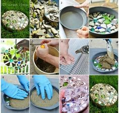 garden stone mosaic stepping stones made in a pan Mosaic Stepping Stones, Stone Mosaic, Homemade Stepping Stones, Garden Crafts, Garden Projects, Mosaic Garden, Cement Garden, Mosaic Projects, Garden Stones