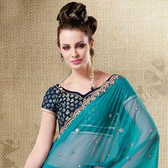 Turquoise Net Lehenga Style Saree With Blouse Online Shopping: SWS4204