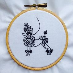 Poodle embroidery by Louisa Hammond
