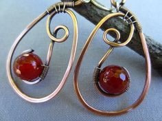 Copper Hammered Earrings with Carnelians/ Hammered Copper earrings/ Artisan Earrings Copper Wire Earrings