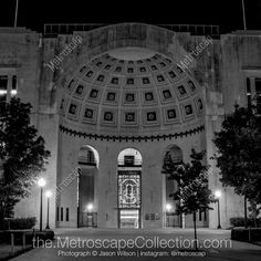 Black & White Photography Print of Ohio Stadium at Night