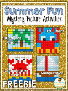 Free Summer Math Mystery Pictures {for grades Free Summer Math Mystery Pictures {for grades Keep your students engaged with some fun math practice at the end of the school year or during sum Math Games, Math Activities, Math Math, Math Resources, Free Summer, Summer Fun, Mystery, Summer School Activities, 120 Chart