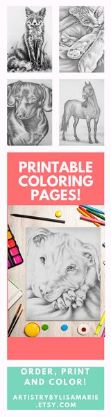 What's the best part of these hand-drawn grayscale coloring pages? Other than the fact that they are BEAUTIFUL and you can color in a profession looking animal drawing? How about the fact that you can print them at home as many times as you want! You can ALL coloring pages @ ArtistryByLisaMarie.etsy.com