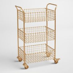 Gold Wire Antonia Rolling Cart from Cost Plus World Market. Shop more products from Cost Plus World Market on Wanelo. Gold Wire Basket, Bar Cart Decor, Storage Cart, Purse Storage, Lp Storage, Record Storage, Kitchen Storage, Storage Ideas, Kitchen Grill
