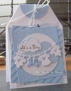 Handmade baby boy card - This card is cute, but there's a great tip for layering at this site! Scrapbook Bebe, Scrapbook Cards, New Baby Cards, Baby Boy Cards Handmade, Karten Diy, Cricut Cards, Baby Shower Cards, Card Tags, Card Kit