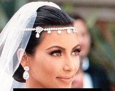 Kim Kardashian headband crystal forehead band Art by retrobridal