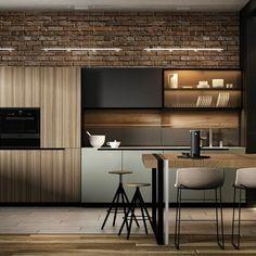 Ideas For Apartment Kitchen Design Modern Dining Rooms Modern Kitchen Interiors, Modern Kitchen Design, Interior Design Kitchen, Modern Interior Design, Kitchen Furniture, Kitchen Decor, Cozy Kitchen, Kitchen Ideas, Urban Kitchen