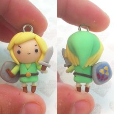 I lost my little magnifying glass so I can't have super zoomed photos right now. Sorry ^^' anyway here is a little Legend of Zelda Link chibi I made for my big brothers birthday that's coming up! This was also inspired by @thelittlemew, just with a little of my own style ^^ #Link #nintendo #Legendofzelda #polymerclay #kawaii #handmade #charms #craft #clay #cute #adorable #kawaiicharms #handpainted
