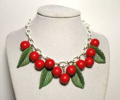 1940's Cherries Celluloid Necklace