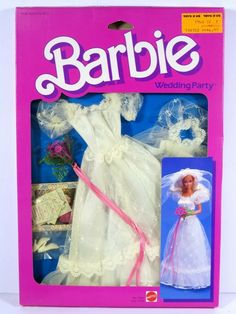 One new in box doll fashion. The box shows slight wear from age. Mattel Barbie, Barbie Dolls, Barbie Doll Accessories, Barbie Wedding, Wedding Dress With Veil, Kids Boutique, Vintage Barbie, Party Fashion, Bride