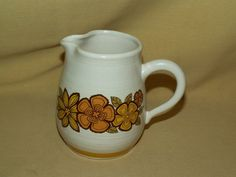 Franciscan Creamer Fashion Manor Garland Platter Brown Yellow Flowers Speckled #Franciscan