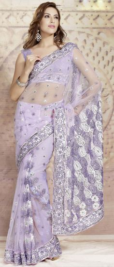 Pastel #Purple #Net #Saree with Blouse @ $ 44.51