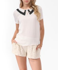Pointed Collar Inset Blouse   FOREVER21