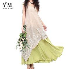 YuooMuoo Plus Size Solta 2016 Roupas Femininas Moda Marca Designer Longo Retro Nacional Ocasional Assimétrico Vestido de Linho Do Vintage
