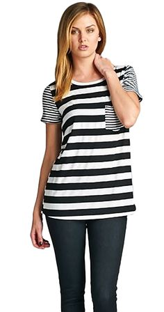 Are you a wanderer? Don't get lost in the crowd with this comfortable, cozy tee. The bold thick stripes in the body and the thinner stripes on the arms and pocket are the perfect amount of contrast. Silver Icing, Cool Outfits, Casual Outfits, Online Collections, Fashion Company, Striped Tee, Cute Tops, Fashion Online, Womens Fashion