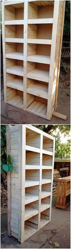 Get this superbly designed creation of the wood pallet shelving unit in your house! You cannot find a better place to place your accessories as in manageable way other than that. This shelving unit has been categorized into two divisions of the shelves for you with the simple sort of designing impact.