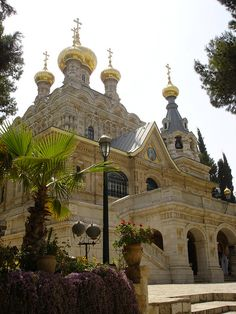 The Church of Mary Magdalene, Mount of Olives, Jerusalem, Israel (by Cat Lover). Parks, Jerusalem, Beautiful World, Beautiful Places, Terra Santa, Saint Chapelle, Mount Of Olives, Mary Magdalene, Israel Travel