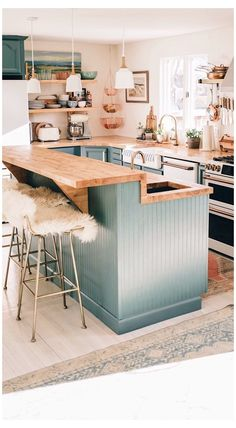 Eclectic Kitchen, Boho Kitchen, Green Kitchen, Kitchen Redo, Home Decor Kitchen, New Kitchen, Home Kitchens, Kitchen Remodel, Open Kitchen Interior