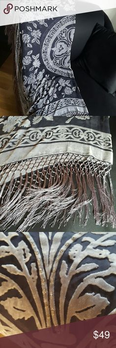 Stunning Fringe Laser Cut Pashmina LoopIt Laser Cut Velvet and Bead cut outs with fringe all around pashmina..never worn...measures 41x41 inch square..very dramatic look loopIt Accessories Scarves & Wraps