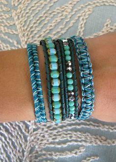 Macrame and Beaded Wrap Bracelet With Dark by MaisJewelry on Etsy,