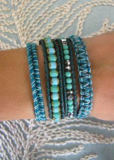 Macrame and Beaded Wrap Bracelet With Dark by MaisJewelry on Etsy, $63.00
