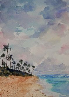 Watercolors by Joan 2: 30 Paintings in 30 Days - Day 12 - Tropical Sunris...