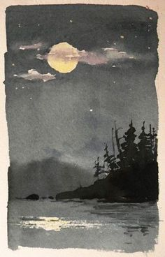 Watercolor painting on thick watercolor paper at night....in a forest....with a beautiful moon....I think I've said more than enough.: