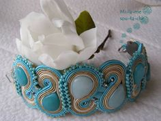 Maledivy, bransoletka sutasz, soutache bracelet