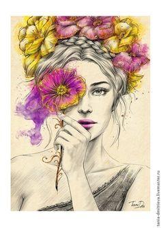 Beauty by Tania Dmitrieva, via Behance acuarela rostros Beauty Cute Paintings, Fantasy Paintings, Fantasy Art, Drawing Sketches, Art Drawings, Frida Art, Illustration Art, Illustrations, Art Sketchbook