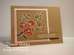 handmade Easter Card from Di's Country INKers ... kraft card ... white embossed line art flowering  fruit tree ... coloring with Blendies ... like the subtle white stamped image on the background as well ...