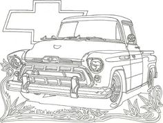 Chevrolet Truck Coloring Pages Truck Coloring Pages, Printable Coloring Pages, Coloring Pages For Kids, Coloring Sheets, Coloring Books, Adult Coloring, Cool Car Drawings, Truck Covers, Coloring Pages Inspirational