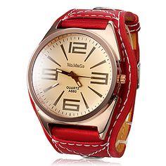 Women's Big Tawny Dial Red PU Band Quartz Analog Wrist Watch – USD $ 4.99
