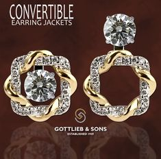 Two tone twisted #Diamond Convertible Earring Jackets allow you to wear your diamond studs three unique ways. Visit your local #GottliebandSons retailer and ask for style number 28909B. http://www.gottlieb-sons.com/product/detail/28909B