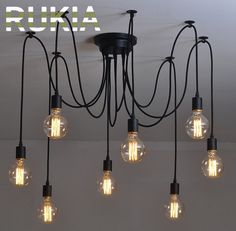 45.00$  Watch more here - http://aiicf.worlditems.win/all/product.php?id=32766416886 - RUKIA Modern Vintage Pendant Lights Spider Industrial Light 6 8 arms Loft Antique Adjustable DIY E27 Nordic Retro Edison Bulb
