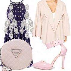 Outfit Blu, rosa e pois